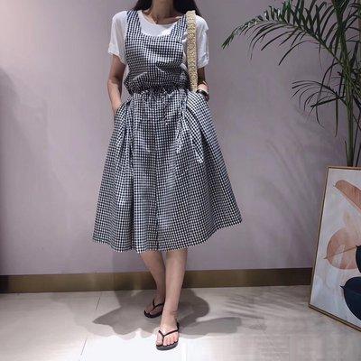 ☆Bubble Lady ☆ 現貨 【D406】格紋 腰綁帶 連身寬褲 (出清不退換)