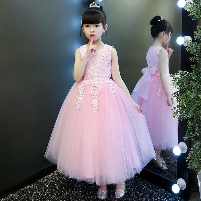 表演服 洋裝 禮服 公主裙 女童生日公主裙婚紗兒童主持人鋼琴演出服長裙花童晚禮服蓬蓬紗