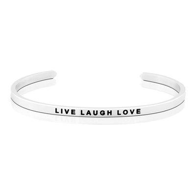 MANTRABAND 台北ShopSmart直營店 美國悄悄話手環 Live Laugh Love 生活歡笑愛 銀色