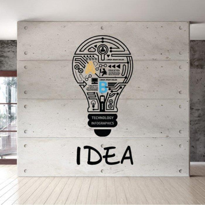 創意壁貼燈泡款標語牆貼家用裝飾辦公室貼紙標識激勵志(大號)_☆優購好SoGood☆
