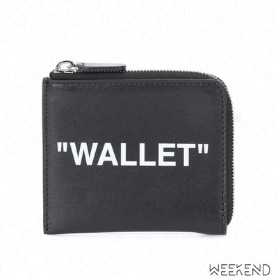 【WEEKEND】 OFF WHITE Quote Wallet 皮革 皮夾 卡夾 零錢包 黑色 18秋冬
