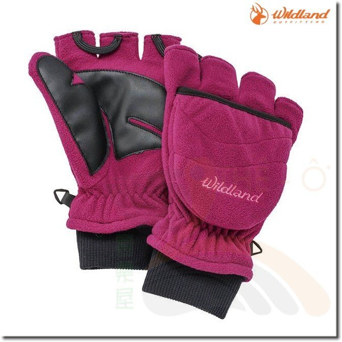 荒野 WILDLAND W2012-21紫紅 中性防風保暖翻蓋手套 保暖手套 防風/刷毛/保暖 喜樂屋戶外