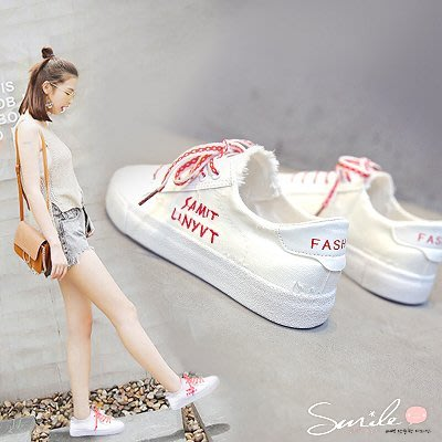 【V8154】SMILE-百搭鞋款.韓版街拍字母有色鞋帶帆布平底休閒布鞋