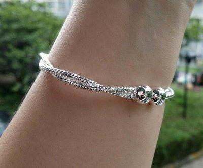 嗨,寶貝銀飾珠寶* 925純銀☆999純銀 時尚精品 造型 細緻 麻花 對珠 開口純銀手環 手鐲 收藏