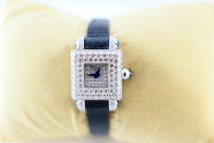 [吉宏精品交流中心]CHOPARD 蕭邦 白K金 原鑲鑽石 手上鍊機械 皮帶 女錶 珠寶錶