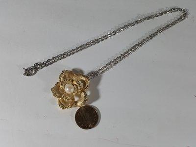 [銀九藝] 珍珠鑲鑽  金飾 金花 胸花 項鍊 項墜