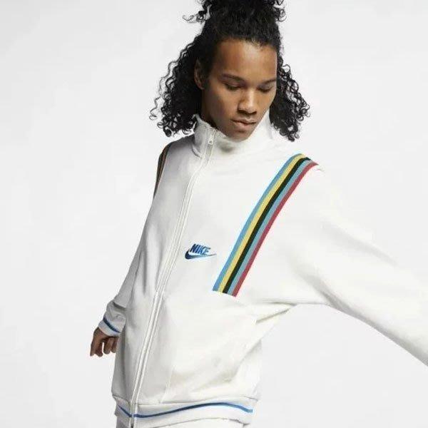 NIKE Sportswear French Terry 1988 彩虹 白 立領外套 男 AR1868-133 -SP