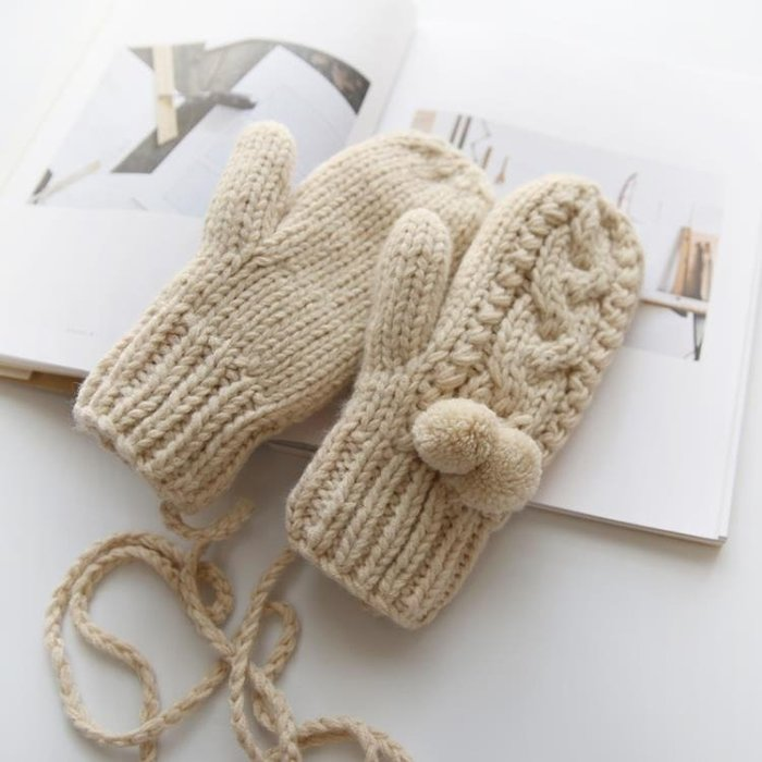 圍美新款加絨保暖連指手套女冬可愛韓版 學生加厚掛脖毛線手套