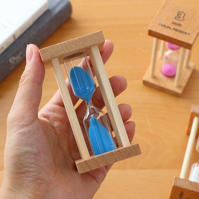 奇奇店-創意兒童刷牙小沙漏擺件倒計時器1/3/5分鐘時間迷你玻璃木質禮物