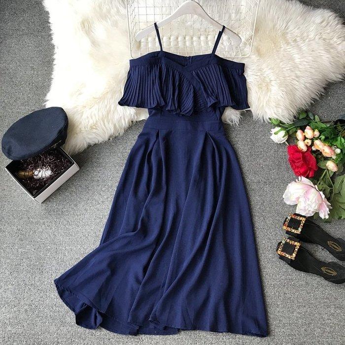 半島鐵盒 一字領洋裝 2019夏季韓版新款壓褶露肩一字領吊帶長款連衣裙