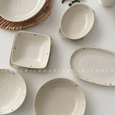 CHICHI's 韓風ins不規則波點韓式日式盤碟子醬碟湯碗套裝陶瓷餐具