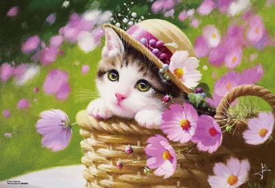 日本進口拼圖 繪畫 動物 花籃裡的貓咪 花 長岡卓 300片拼圖 83-102