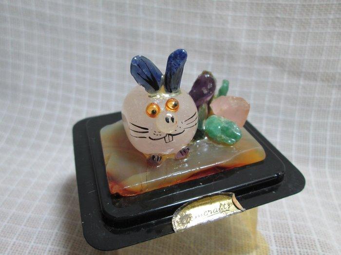 VINTAGE 迷你半寶石工藝品 瑪瑙 粉水晶 玉 紫水晶 肥肥兔 古董擺飾 泰國製 G393