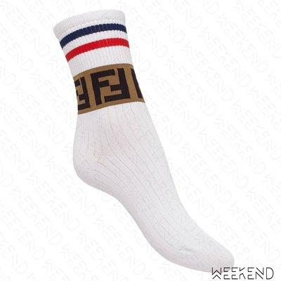 【WEEKEND】 FENDI FF logo 棉質 休閒 襪子 新款 撞色 白色