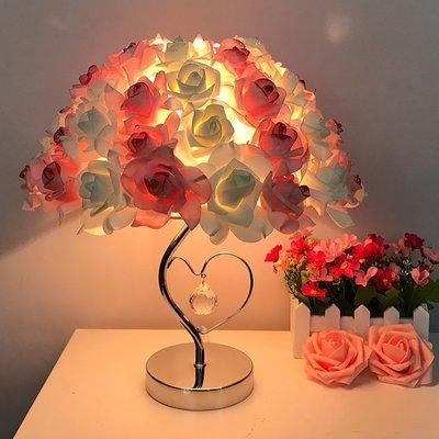 燈飾 照明 檯燈 床頭燈水晶臺燈創意婚慶婚房裝飾臥室床頭燈臺燈歐式溫馨玫瑰花結婚禮物