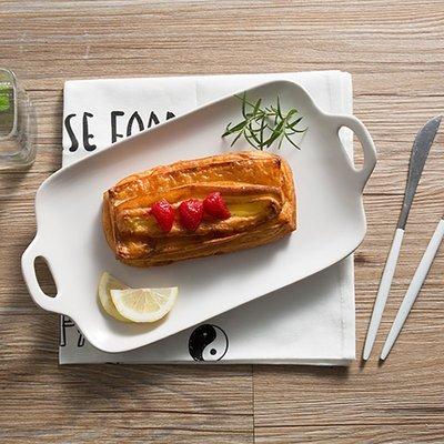 日式雙耳水果沙拉盤創意壽司盤陶瓷長魚盤點心蛋糕盤家用菜盤子