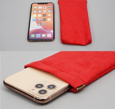 GooMea 2免運 華為Note 8 榮耀7i 彈片開口雙層絨布袋手機袋 紅色 保護袋絨布套手機套保護套
