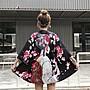 小香風 短袖T恤 時尚穿搭 女裝復古少女和風中國風寬松旅游防曬衣和服男女薄外套潮