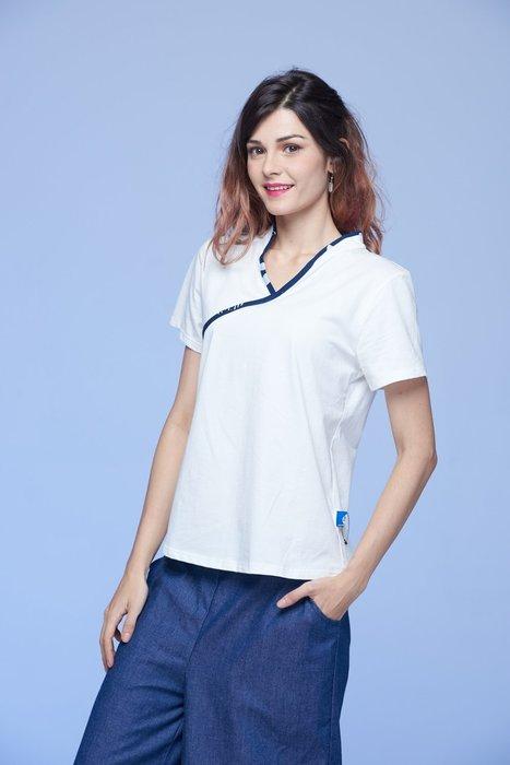 !中國藍Anewei藍染米白V領純棉T恤/上衣-L最後一件-單品799兩件特惠1350元