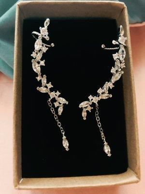 水鑽幸福葉單邊耳針耳掛垂鍊耳環純銀 新娘配飾 現貨 新秘用品 造型單邊耳環