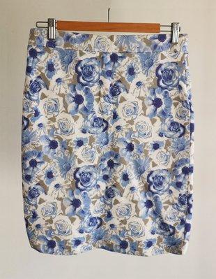 NET藍色花朵印花筆管裙-E箱E4(非moma-iroo-六藝-23區-zara)【280含郵】