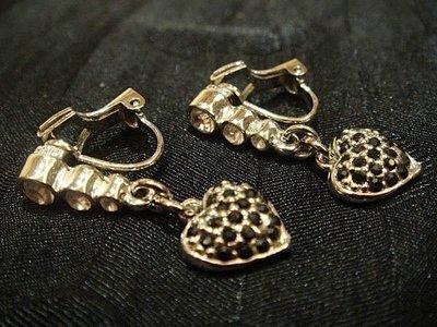 國外帶回,可愛銀色金屬鑲水晶與黑瑪瑙垂墜設計款夾式耳環,低價起標無底價!本商品免運費!