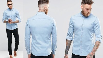 ◎美國代買◎ASOS淺藍刷色合身剪裁經典百搭款淺藍色合身牛仔襯衫上衣~歐美街風~大尺碼