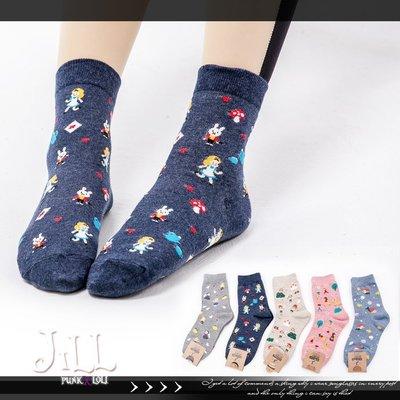Oo吉兒oO【JMA7013】蘿莉塔歐風小公主harajuku竹下通 童話夢境滿版印花中筒襪