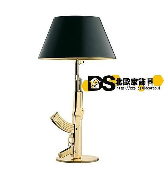 DS北歐家飾§ loft工業風格設計師復刻FLOS Gum Lamp創意造型電鍍金銀衝鋒槍檯燈 小夜燈 ak47