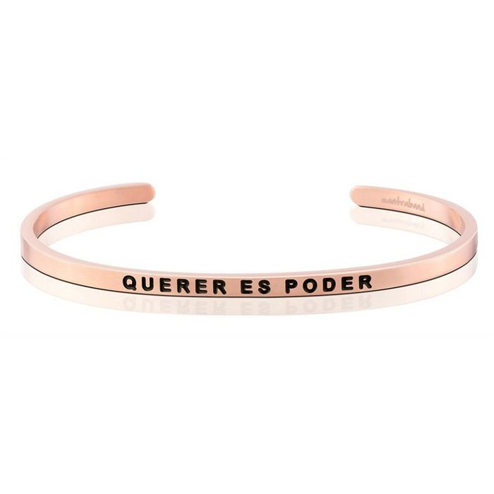 MANTRABAND 美國悄悄話手環 Querer Es Poder 心想事成 玫瑰金手環 西班牙文版