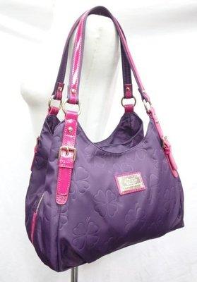 *迪奧小店*名牌BONNIE幸運草手提包肩背包/三層設計/尼龍真牛皮/紫桃色/勁爆特價