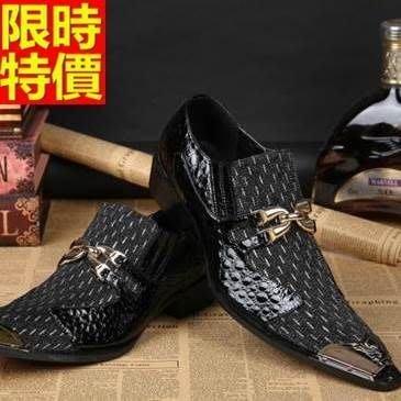 尖頭鞋 真皮皮鞋-英倫時尚金屬環扣拼接低跟男鞋子65ai6[獨家進口][米蘭精品]