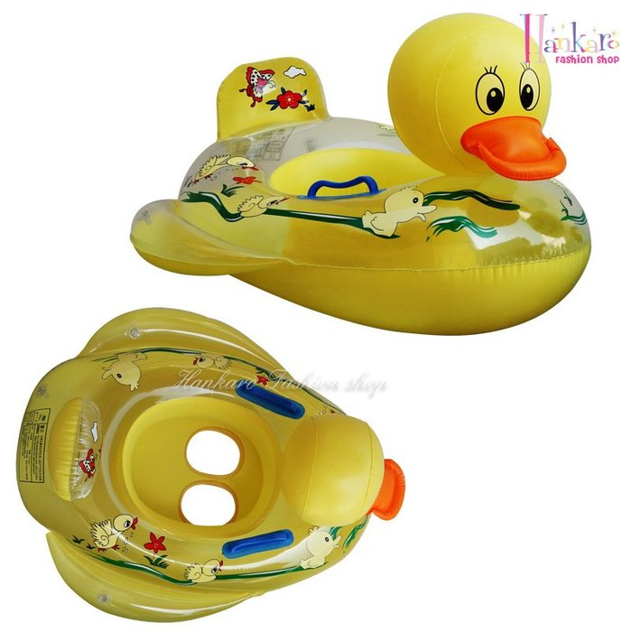 ☆[Hankaro]☆ 夏日戲水可愛小鴨造型幼童充氣泳圈充氣坐圈