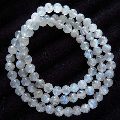 天然水晶奶油體極美藍月光石多圈手鍊繞三圈項鍊手串手珠6.5mm/29g珠寶玉石寶石首飾飾品