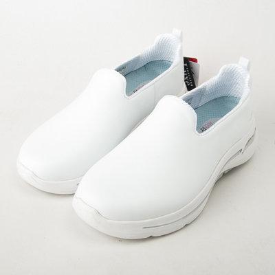 SKECHERS 女 健走系列 GOWALK ARCH FIT 寬楦款 皮質 124414WWHT 護士鞋 全白 現貨