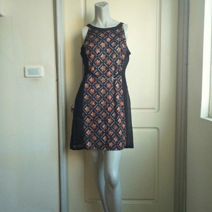 【onsale】70.80年代菱格紋印花圖案絲紗削肩膝上洋裝