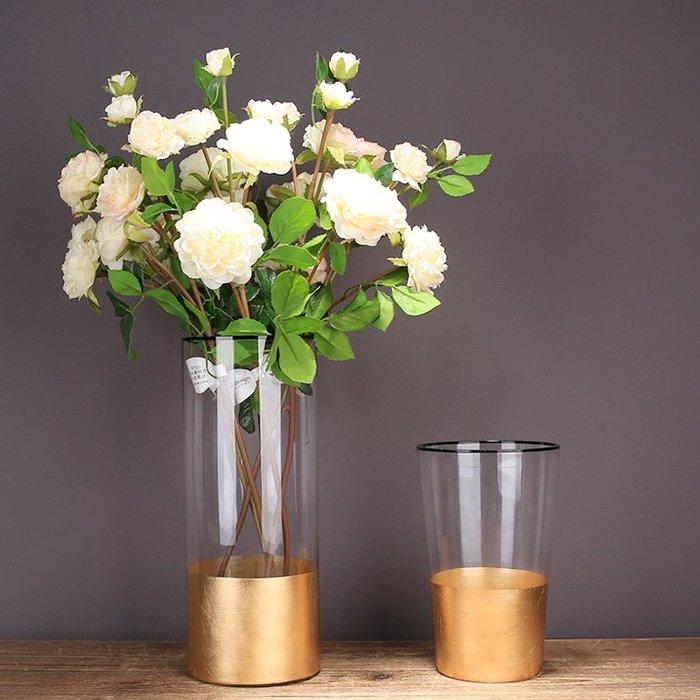 〖洋碼頭〗輕奢玻璃花瓶透明插花現代簡約家居客廳軟裝飾品水培金箔花瓶擺件 ysh653