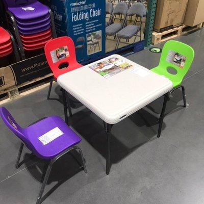 餐桌COSTCO來福太Lifetime兒童折疊方桌茶幾家用餐桌小戶型簡約飯桌西洋紅
