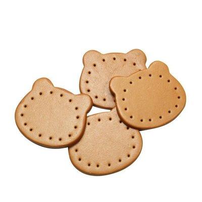 【小布物曲】牛皮配件7折-純手工頂級牛皮熊熊皮片40013‧拼布/牛皮/DIY配件/袋物-調