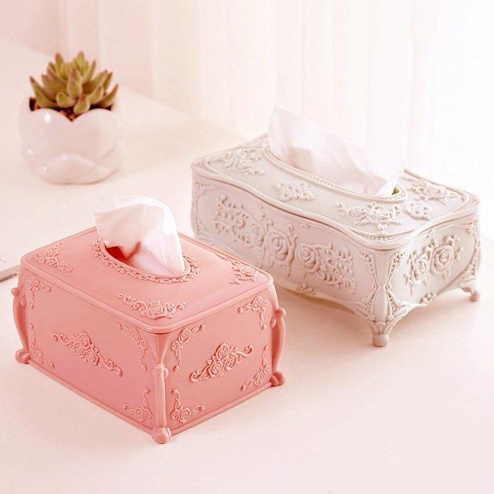紙巾盒面紙盒創意歐式家用客廳雕花紙巾盒長方形抽紙餐巾紙茶幾桌面捲紙收納盒