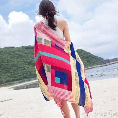 好物多商城 防曬披肩春秋季女沙灘巾海邊超大圍巾兩用紗巾旅游拍照絲巾海灘
