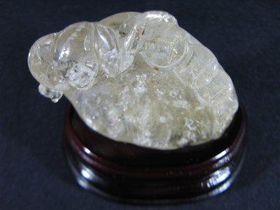 [銀九藝] 白水晶 鈦晶雕件 福祿壽 風水 發財 擺件