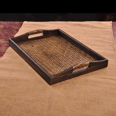泰國工藝品創意 茶盤酒店餐廳SPA托盤 復古手工竹編托盤禮品14013