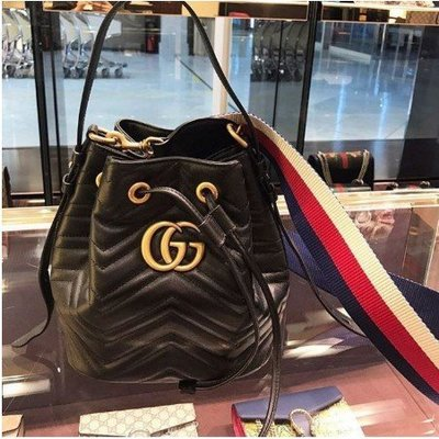 Gucci 水桶包 Marmont Quilted Leather Bucket 水桶包 476674 正品