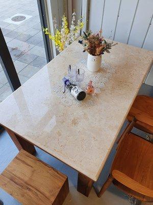 幸福家實木傢俱 大理石檯面柚木餐桌,152 cm,石面檯面易清潔不沾塵(DINNING TABLE WM152)