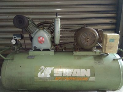 中古3HP天鵝高壓空壓機 三相220V&加大7.5HP儲氣桶(修車業專用機)