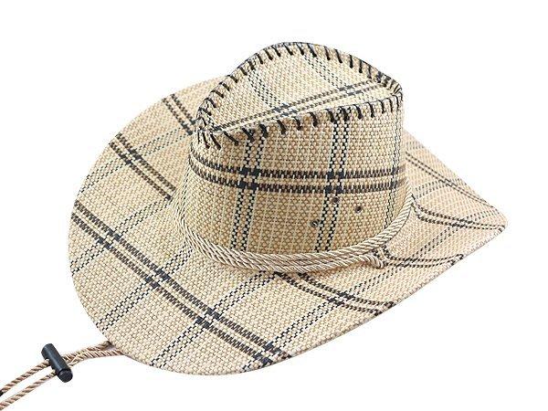 【二鹿帽飾】 皮繩滾邊 高質感 麻料 格紋牛仔帽/ 西部帽/ 牛仔帽/表演帽/國小以上表演專用帽-2色