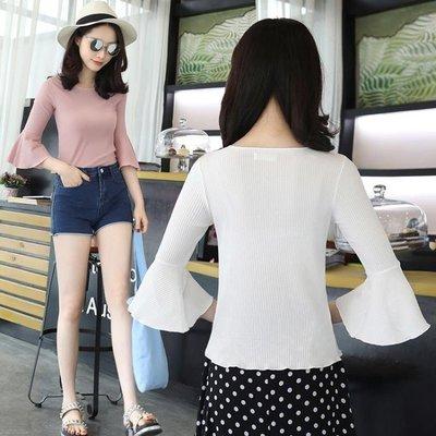 ZIHOPE 短袖上衣 緊身冰絲針織衫薄款女外套喇叭袖打底衫夏季修身中袖配裙子的上衣ZI812