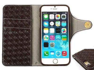 [GIFUTO] Apple iPhone 6/ 6s Plus 5.5吋 精品風編織皮革保護套 保護殼  – 棕