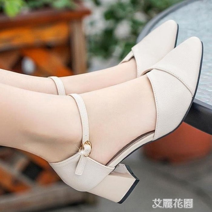 涼鞋女2020夏季新款女鞋子一字扣粗跟高跟鞋韓版包頭中空時尚單鞋『 嚴選新品』